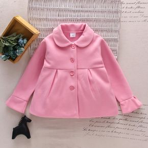 Toddler Girl Doll Collar Button Design Solid Coat