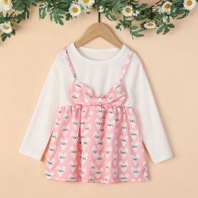 Baby / Toddler Girl Bowknot Letter Cutie Print Dress