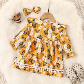 2pcs Yellow Daisy Floral and Butterfly Print Long-sleeve Baby Dress