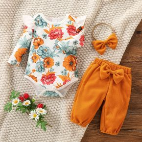 Baby 3pcs Floral Print Long-sleeve Romper and Solid Waffle Trouser Set