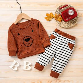 2pcs Baby Cartoon Bear Print Long-sleeve Brown Pullover and Striped Trousers Set