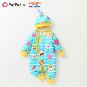 Baby Shark 2-piece Baby Boy/Girl Stripe and Allover Jumpsuit with Hat