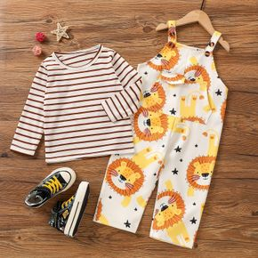 2-piece Toddler Boy Stripe Long-sleeve Top and Lion Print Overalls Set