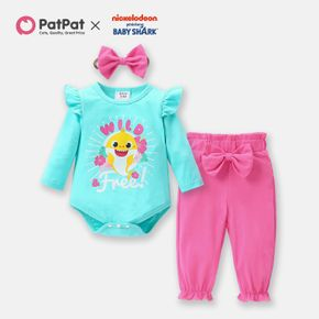 Baby Shark 3-piece Baby Girl Graphic Bodysuit and Solid Cotton Pants Set with Headband