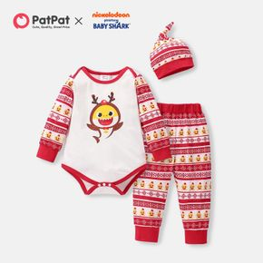 Baby Shark 3-piece Baby Boy/Girl Christmas Bodysuit and Allover Pants Sets with Hat