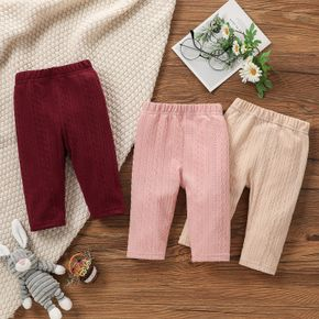 Solid Cable Knit Elasticized Waist Baby Leggings