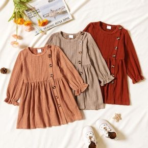 Toddler Girl Button Design Solid Cable Knit Dress