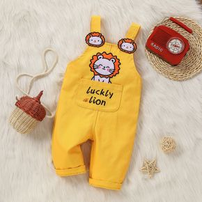 Baby Cartoon Lion and Letter Embroidered Yellow Sleeveless Overalls