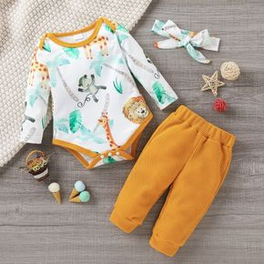3pcs Baby Cartoon Animal Print Long-sleeve Romper and Solid Waffle Trousers Set