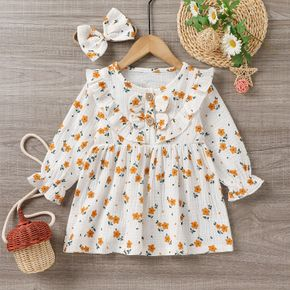 100% Cotton Crepe 2pcs Baby All Over Floral Print White Long-sleeve Ruffle Dress Set