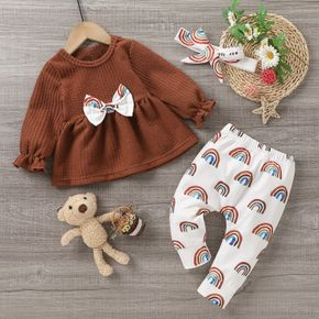 3pcs Solid Long-sleeve Bowknot Top and All Over Rainbow Print Trousers Set