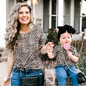 Allover Leopard Print T-shirts for Mommy and Me