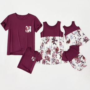 Floral Printed Splice Family Matching Tops