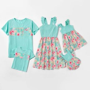 Mosaic Floral Stitching Family Matching Mint Green Sets