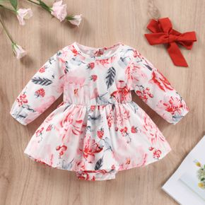 2pcs Baby All Over Floral Print Long-sleeve Romper Dress Set