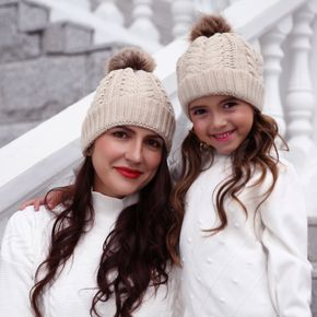 Knitted Hair Ball Hats for Mommy and Me