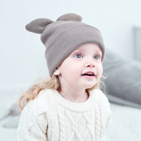 Baby / Toddler Pure Color Top Bow Decor Knit Beanie Hat
