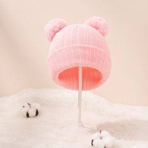 Baby / Toddler Double Pompon Decor Solid Color Ribbed Knit Hat
