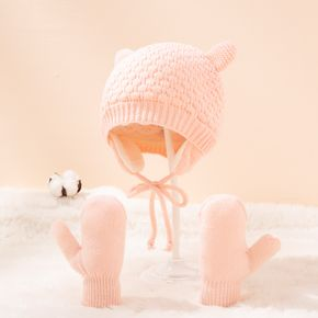 2-pack Baby / Toddler Pure Color Winter Warm Ear Protection Hat and Mittens Set