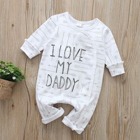 100% Cotton Letter and Arrow or Polka Dots Print Long-sleeve Baby Jumpsuit
