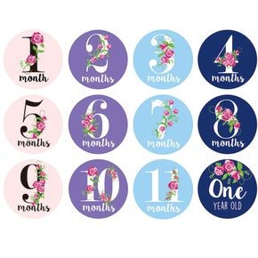 12 Pack Baby Monthly Stickers 1 Happy Sticker Per Month of Your Baby's First Year Growth and Holidays Month Sticker for Baby Boy or Girl Milestone Onesie Stickers
