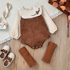 100% Cotton 3pcs Baby Embroidered Crepe Long-sleeve Top and Corduroy Overalls with Knee Pads Set