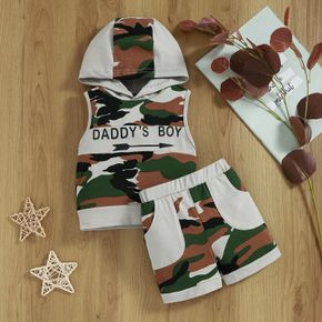 2pcs Baby Letter Print Camouflage Sleeveless Hoodie and Shorts Set