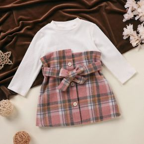 Ribbed Long-sleeve Splicing Pink Plaid Belted Baby Faux-two Dress