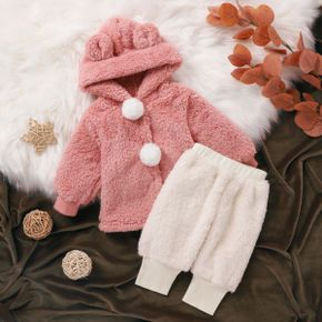 2pcs Baby Solid 3D Ears Hooded Pom Poms Long-sleeve Thickened Fuzzy Fleece Outwear and Trousers Set