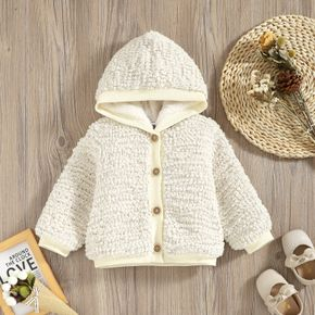 Baby Solid Thickened Fleece Lined Button Down Knitted Long-sleeve Hooded Coat