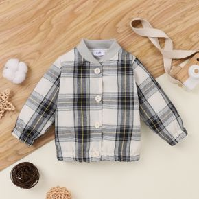 Baby Plaid Button Down Long-sleeve Jacket Outwear