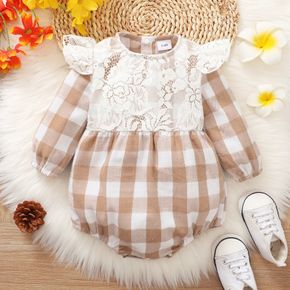 Baby Girl Floral Lace Design Plaid Long-sleeve Romper