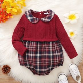 Baby Girl Doll Collar Cable Knit Plaid Faux-two Long-sleeve Romper