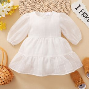Baby Girl Plaid Long Puff-sleeve Tiered White Dress