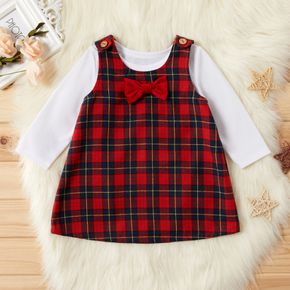 2-piece Baby / Toddler Christmas Solid Top and Plaid Bowknot Decor Dress Set