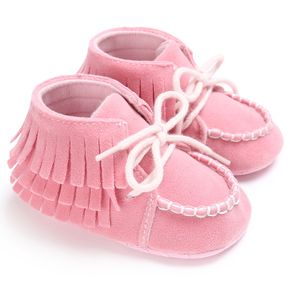 Baby / Toddler Tassel Decor Top-stitching Lace-up Pink Prewalker Shoes