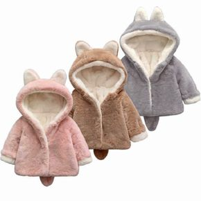 Solid Hooded 3D Ear and Tail Decor Baby Coat