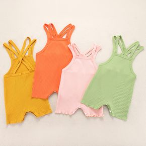 100% Cotton Solid Ribbed Sleeveless Strappy Baby Romper