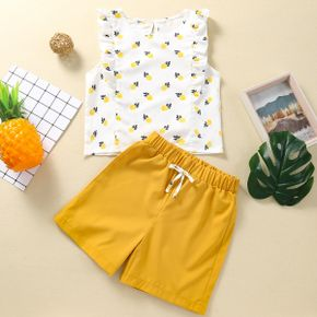 2-piece Kid Girl Pineapple Print Flutter-sleeve Top and Elasticized Solid Shorts Set