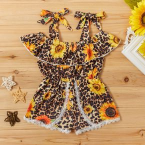 Baby / Toddler Girl Trendy Leopard and Sunflower Print Halter Lace Onesies
