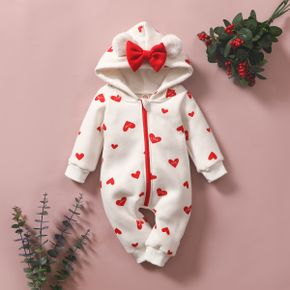Heart or Strawberry Allover 3D Ear Decor Hooded Long-sleeve Baby Jumpsuit
