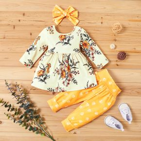 3pcs Floral Allover Long-sleeve Yellow Baby Set