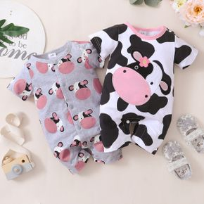 100% Cotton Cow Allover Short-sleeve Baby Romper