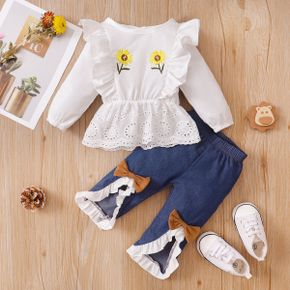 2pcs Baby Sunflower Floral Embroidered Long-sleeve Ruffle Top and Pants Set