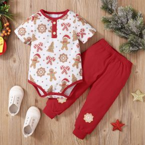 Christmas 2pcs Baby All Over Gingerbread Print Short-sleeve Romper and Red Ribbed Trousers Set