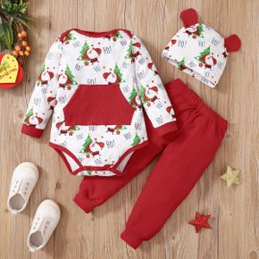 Christmas 3pcs Baby All Over Santa and Letter Print Long-sleeve Romper and Ribbed Trousers Set