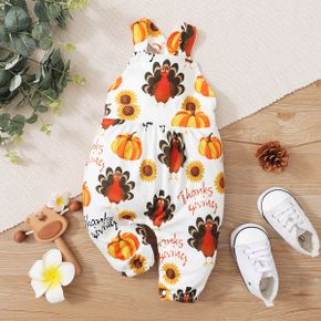 Thanksgiving Day All Over Cartoon Turkey and Pumpkin Print Baby Sleeveless Jumpsuit