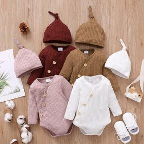 2pcs Baby Solid Knitted Long-sleeve Romper with Hat Set