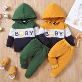 2pcs Baby Animal and Letter Print Color Block Long-sleeve Hoodie with Trousers Set
