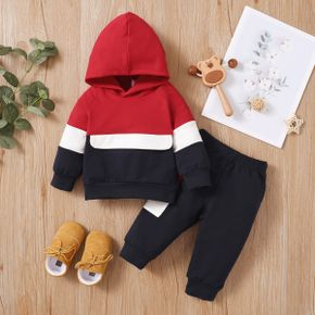 2pcs Baby Color Block Long-sleeve Hoodie and Trousers Set